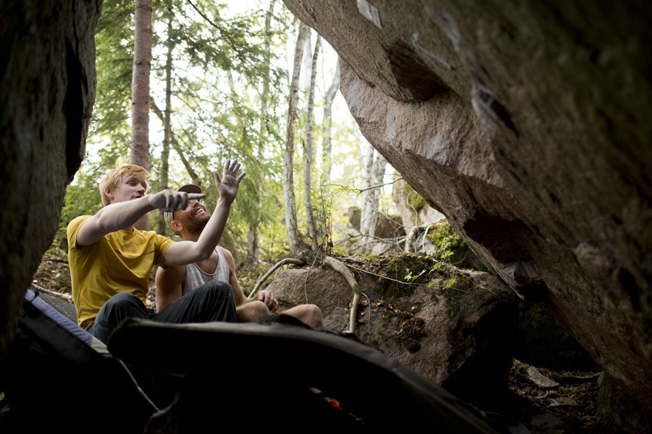 Bouldering surronded by farms and forests